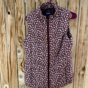 Basic Editions puffer vest floral medium maroon